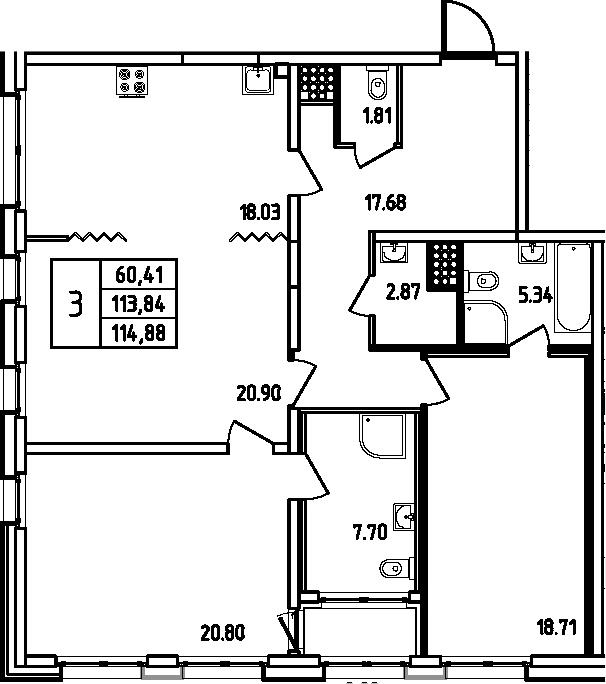 4Е-к.кв, 114.88 м², 10 этаж