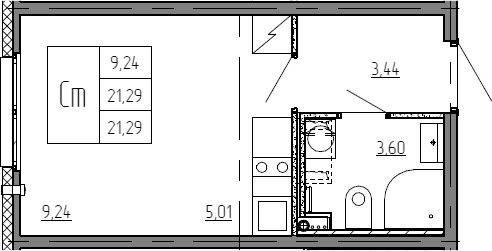 Студия, 21.29 м²– 2