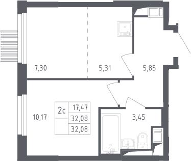 2Е-к.кв, 32.08 м², от 10 этажа