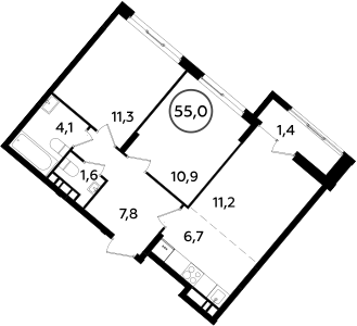 3Е-комнатная квартира, 55 м², 14 этаж – Планировка