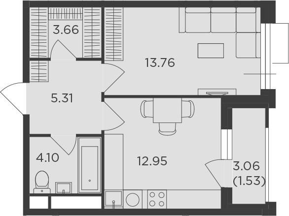 1-комнатная, 41.31 м²– 2