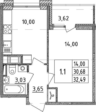 1-к.кв, 30.68 м²