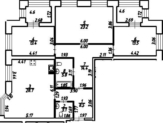 3-к.кв, 115.2 м²