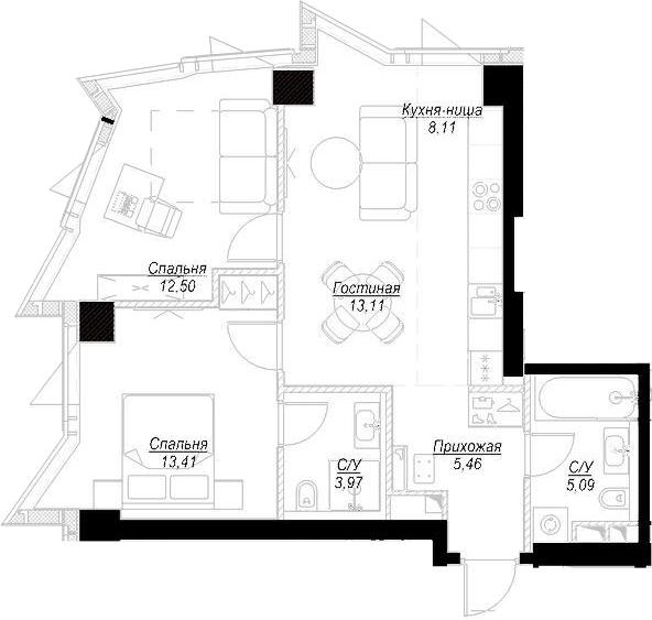 3Е-комнатная, 61.57 м²– 2