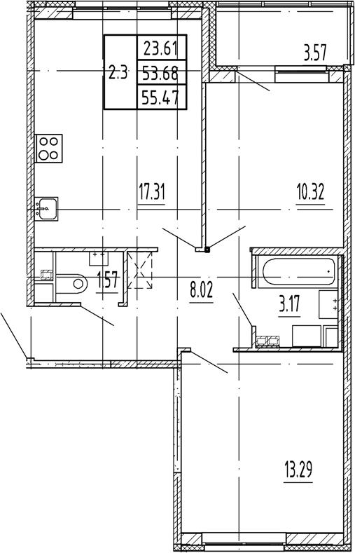 3Е-к.кв, 53.68 м²