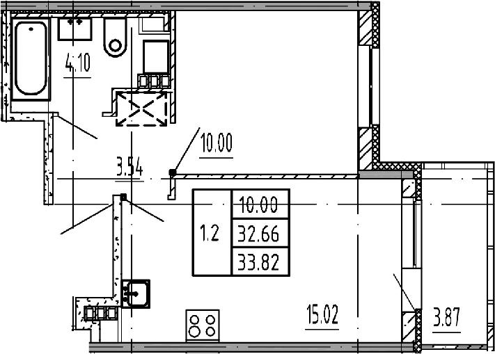2Е-к.кв, 32.66 м², 4 этаж