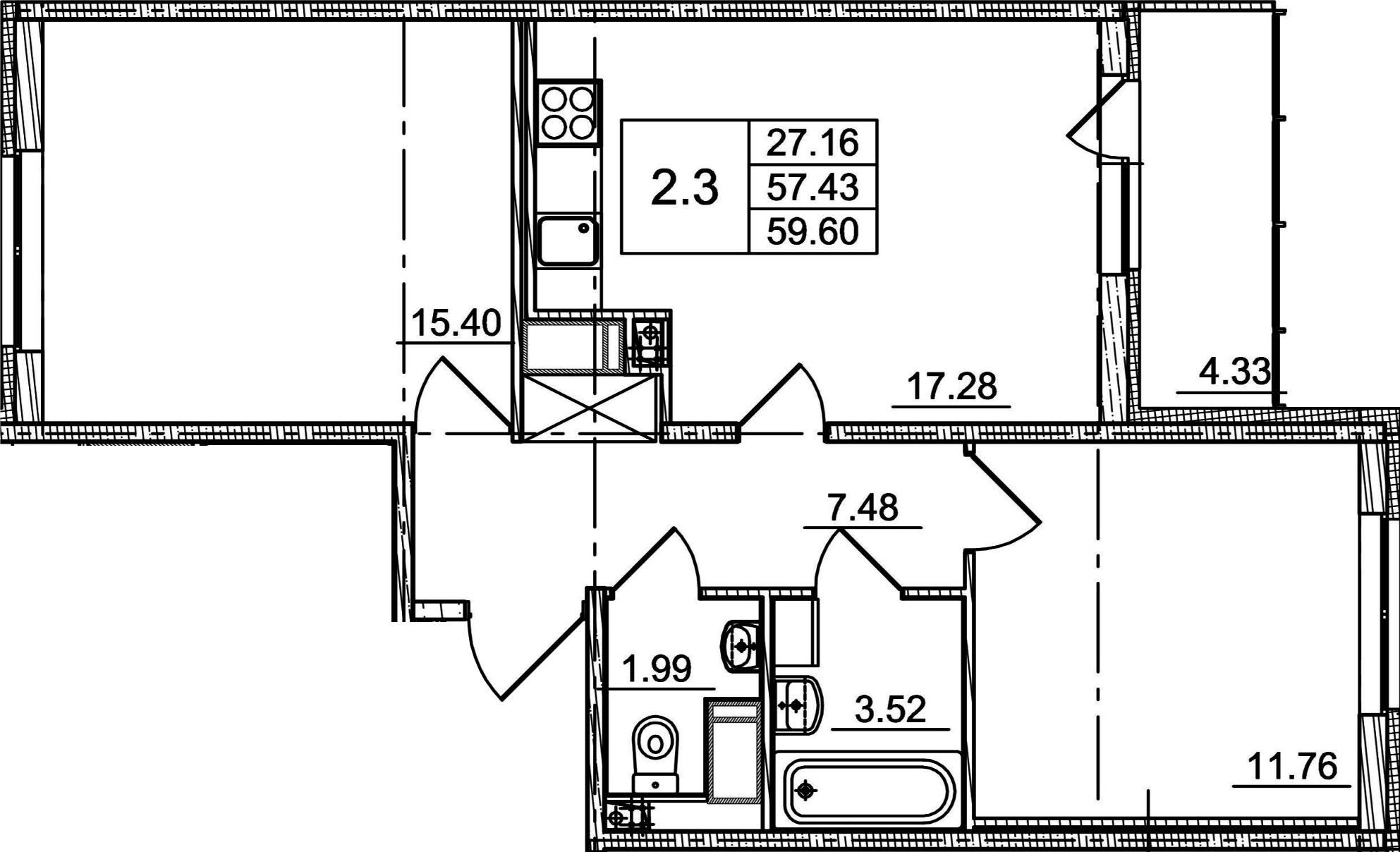 3Е-к.кв, 57.43 м²