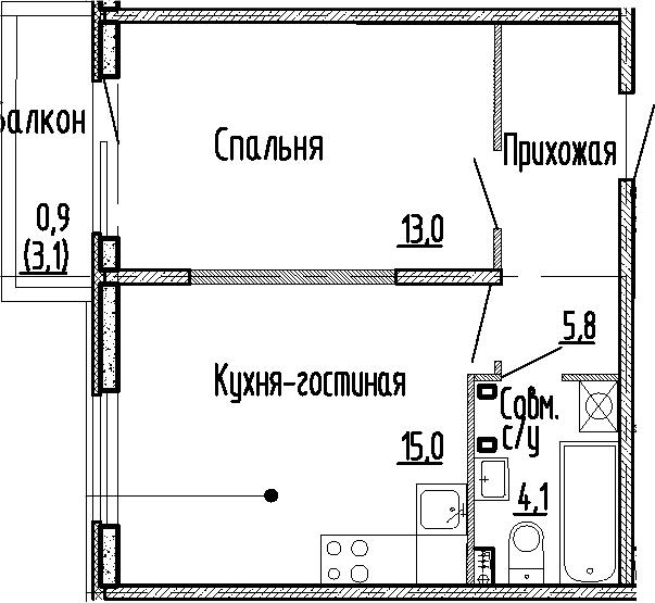 2Е-к.кв, 37.9 м², 1 этаж
