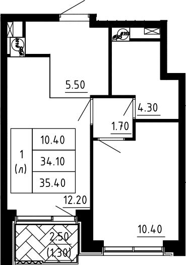 1-к.кв, 35.4 м², 8 этаж