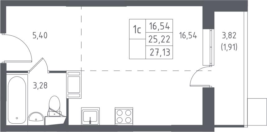 Студия, 27.13 м², 17 этаж – Планировка
