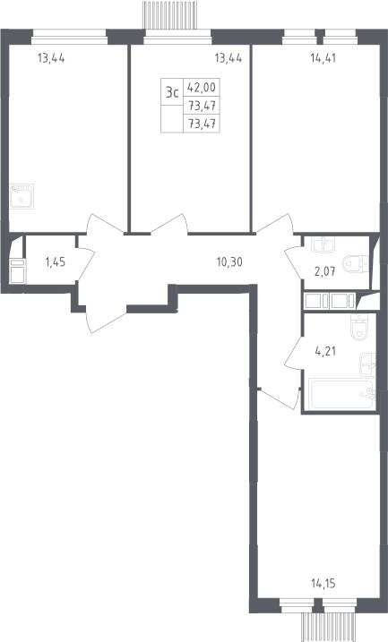 3-к.кв, 73.47 м²