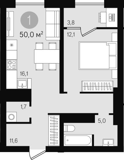2-к.кв (евро), 53.8 м²