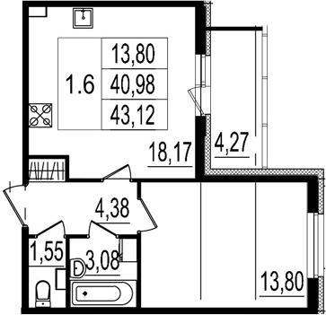 2-к.кв (евро), 45.25 м²