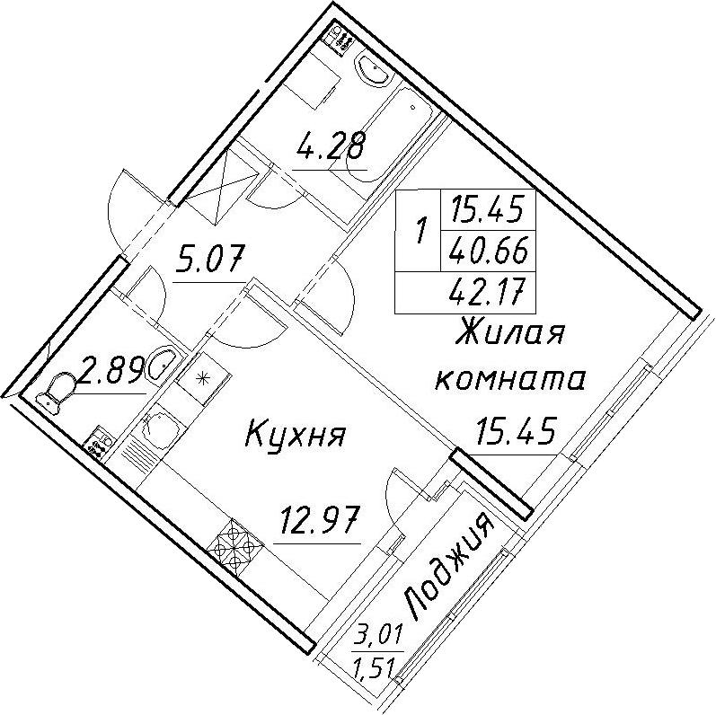 1-к.кв, 43.68 м²