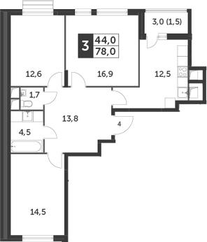3-к.кв, 78 м², 2 этаж