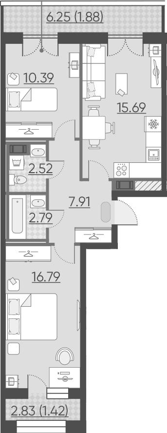 3Е-к.кв, 59.39 м², 10 этаж