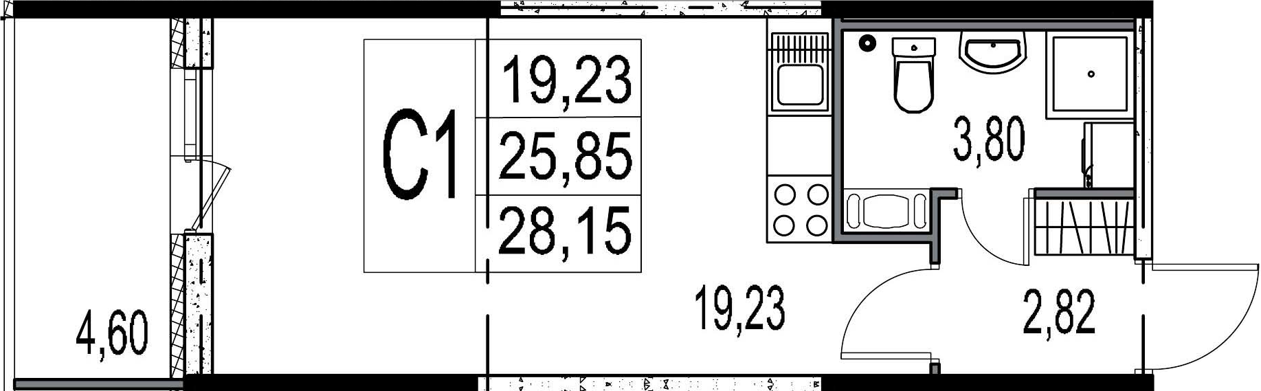 Студия, 25.85 м²