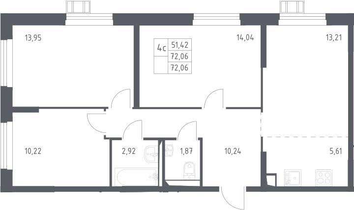4Е-к.кв, 72.06 м²