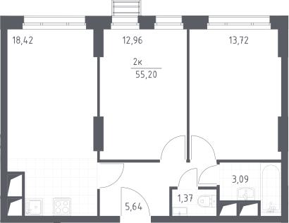 3Е-комнатная, 55.2 м²– 2