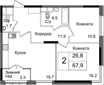 2-комнатная квартира, 67.9 м², 10 этаж – Планировка