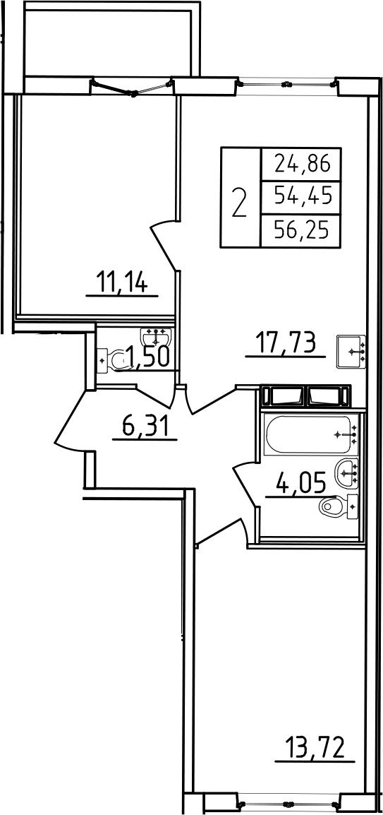 3-к.кв (евро), 60.45 м²