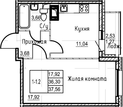 1-к.кв, 38.83 м²