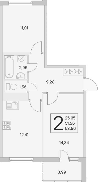 2-комнатная, 51.56 м²– 2