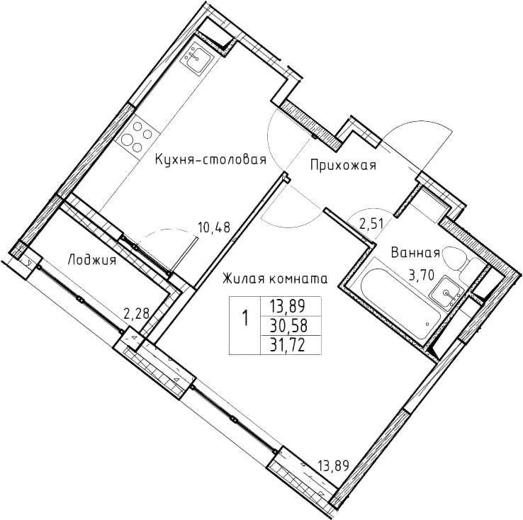 1-к.кв, 31.72 м²