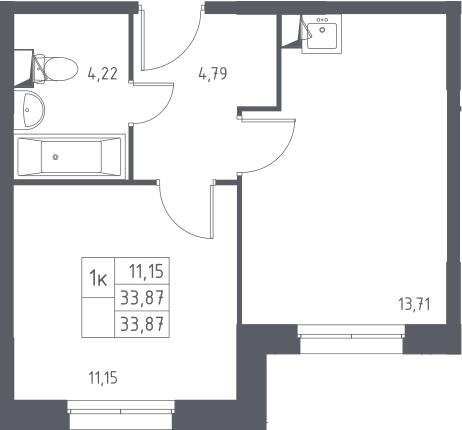 1-к.кв, 33.87 м²