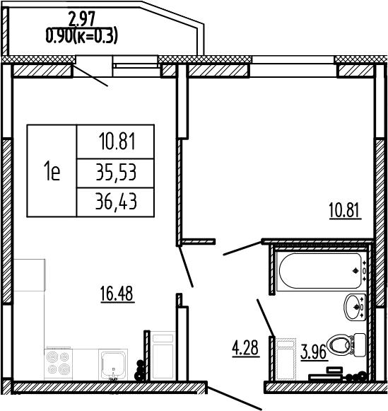 2-к.кв (евро), 38.53 м²