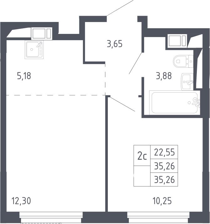 2Е-комнатная, 35.26 м²– 2