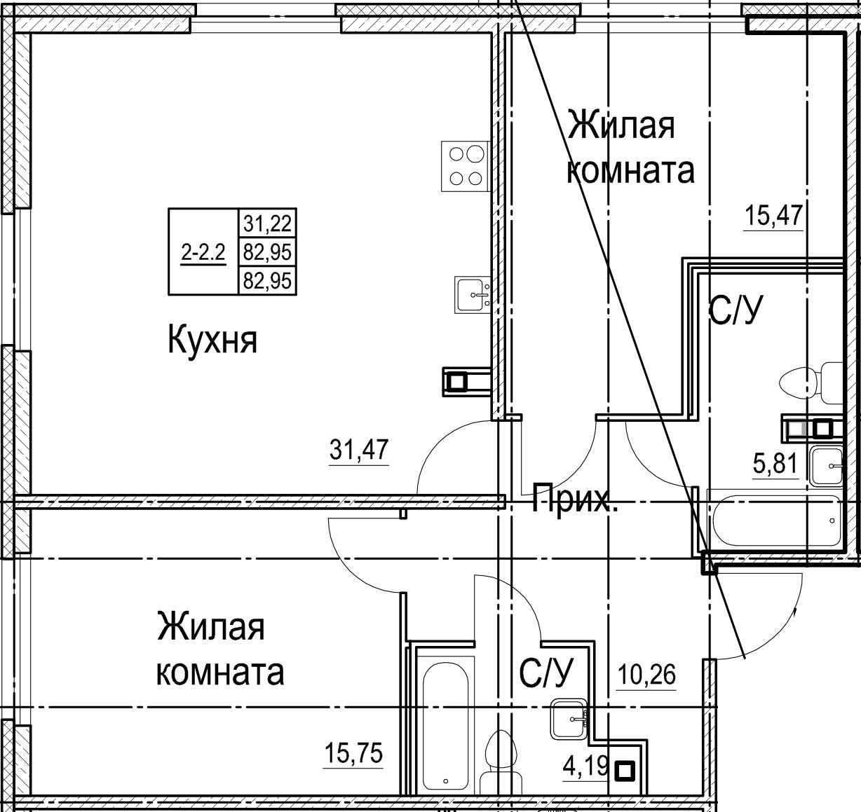 3Е-к.кв, 82.95 м²