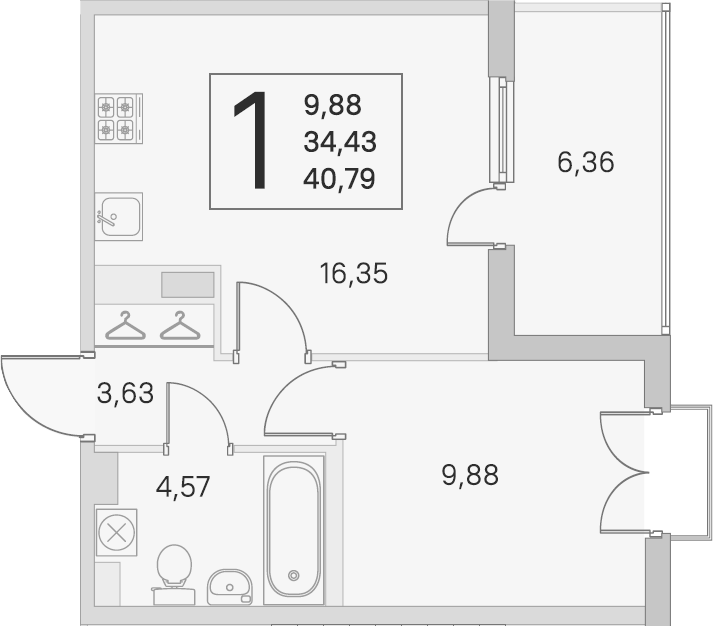 2Е-к.кв, 34.43 м², 4 этаж