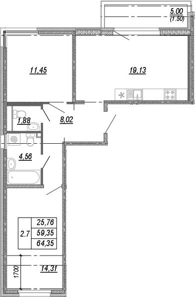 3Е-к.кв, 59.35 м², от 3 этажа