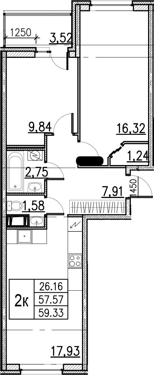 3Е-комнатная, 59.33 м²– 2