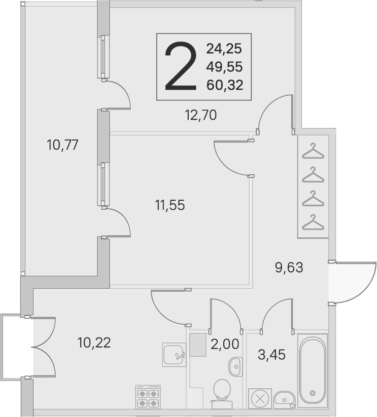 2-комнатная, 49.55 м²– 2