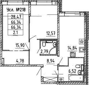 2-к.кв, 66.34 м²