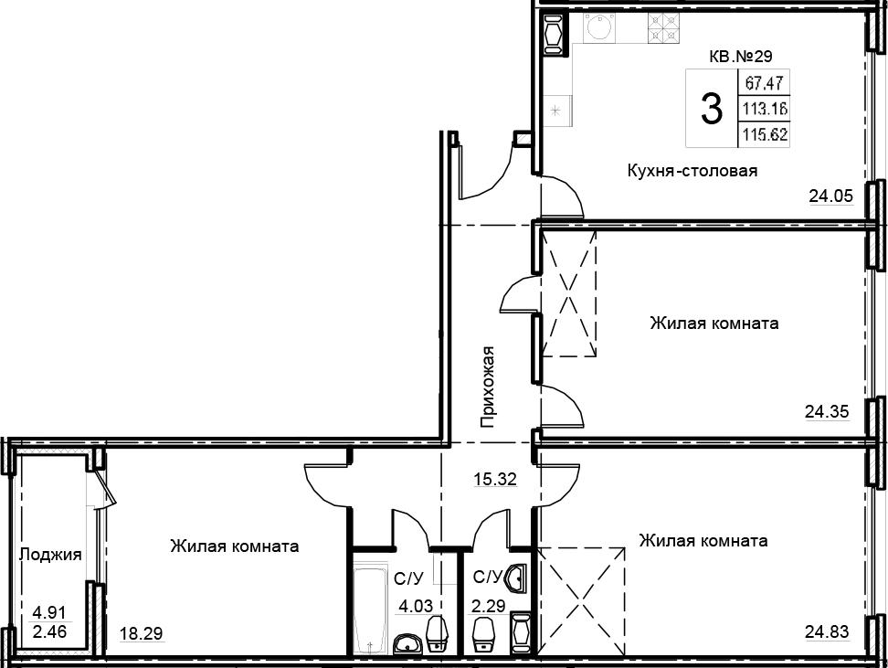 3-к.кв, 115.62 м², 12 этаж