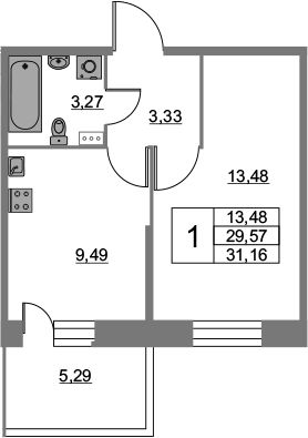 1-к.кв, 31.16 м², 2 этаж