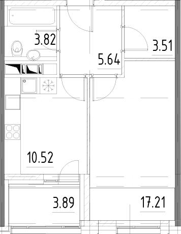 1-комнатная, 42.65 м²– 2