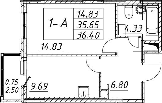 1-к.кв, 38.15 м²