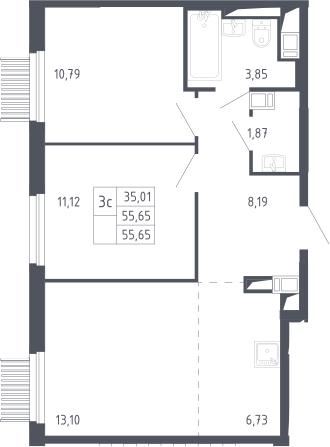 3Е-к.кв, 55.65 м², 13 этаж
