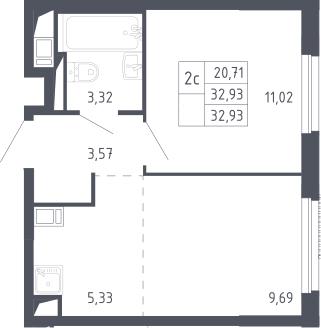 2Е-комнатная, 32.93 м²– 2