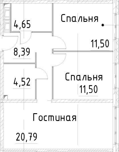 3Е-к.кв, 61.34 м², 22 этаж