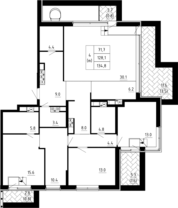 4Е-к.кв, 134.8 м²