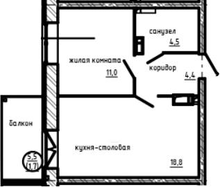 1-к.кв, 40.4 м², 9 этаж