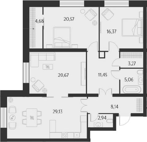 4-к.кв (евро), 122.28 м²