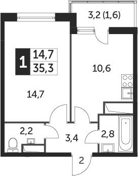 1-комнатная, 35.1 м²– 2