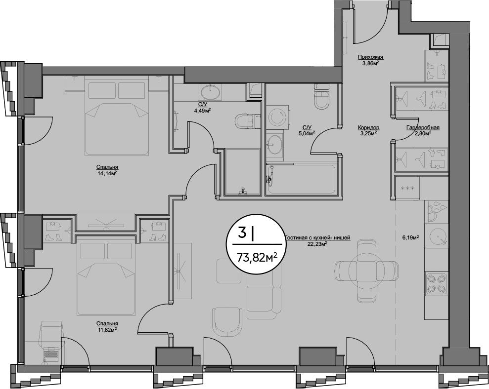3Е-к.кв, 73.82 м²