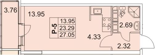 Студия, 27.05 м²– 2